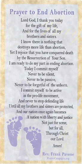 Picture of Prayer to End Abortion (pack of 100 cards)